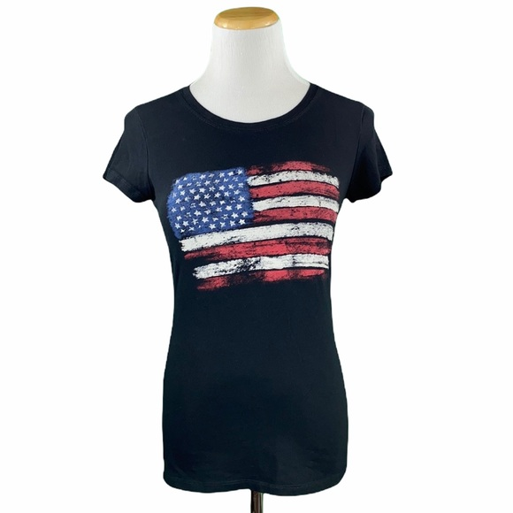 Black American Flag Short Sleeve Graphic Tee